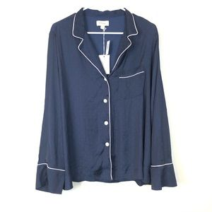 Love by Gap Silky Pajama Top Navy Button Down NWT